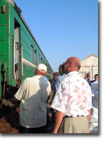 Boarding the train at Kharabali