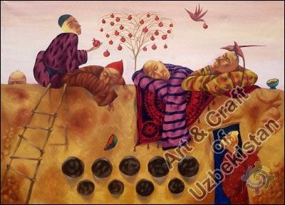 Дувал. Картина узбекского художника Б.Исмаилова