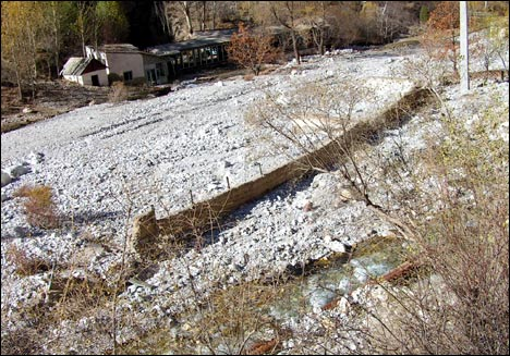 In the wake of the mudslide: this is where pioneer camp Orlyonok once stood. November 2005. Photo by Ferghana.Ru