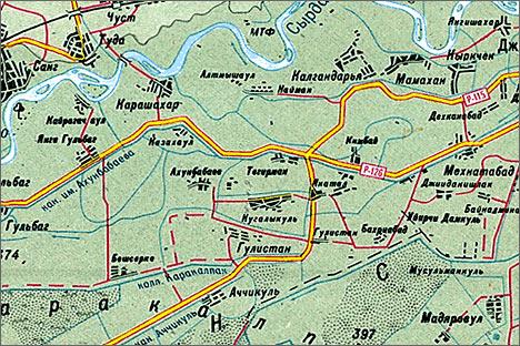 Фрагмент карты Наманганской области Узбекистана