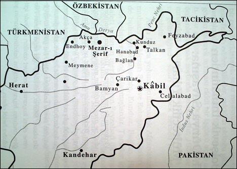 Карта основных мест проживания туркестанцев на территории Афганистана