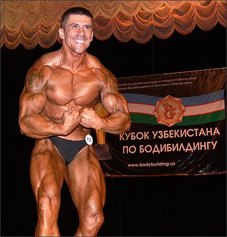 Пятикратный абсолютный чемпион Узбекистана по бодибилдингу Александр Сахаров