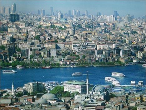 Стамбул. Вид на город и пролив Золотой Рог с высоты птичьего полета