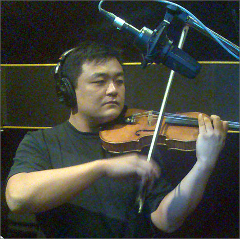 Sean Kao is recording his audio CD in Bishkek, September 2008, Photo by the author