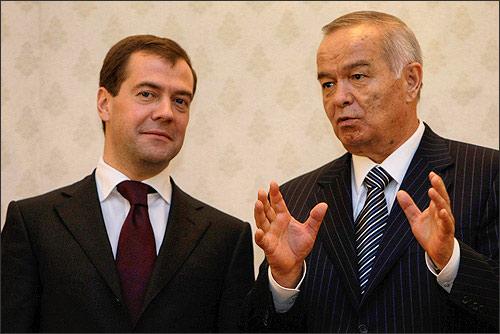 Medvedev and Karimov in Tashkent. January, 23, 2009