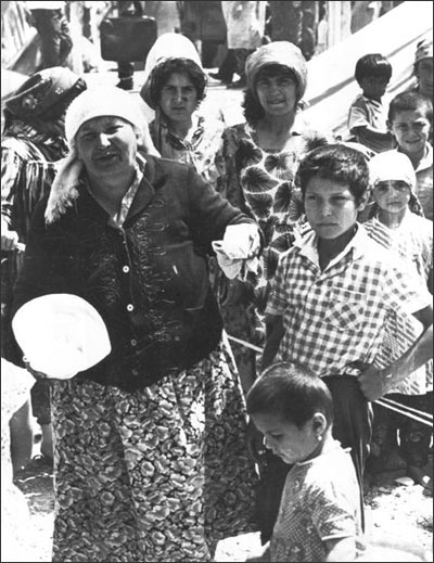 Uzbek Meskhetian Turks. At the shooting range near Ferghana awaiting evacuation into Russia