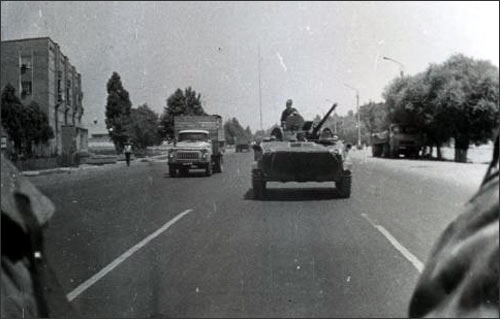Light armored fighting vehicles patrolling Kokand streets in June 1989