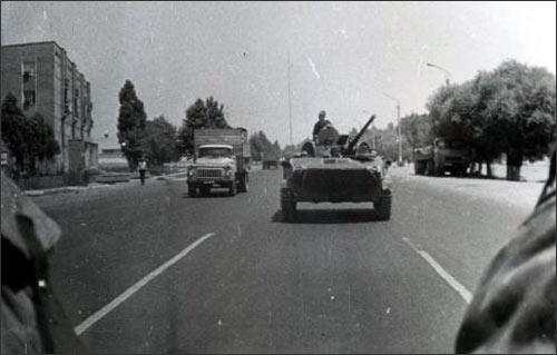 Патруль БМД на улицах Коканда в июне 1989 года