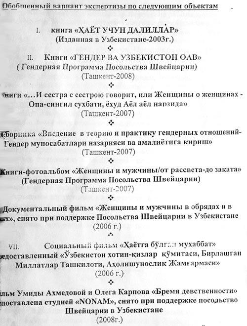 Экспертиза по делу Умиды Ахмедовой