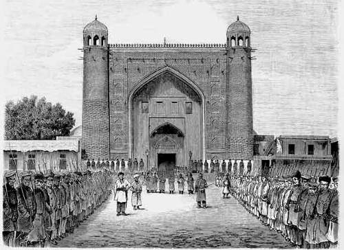 Коканд. Дворец Худояр-хана. Гравюра 1970-х годов