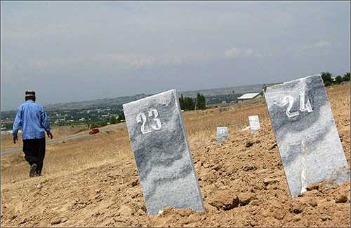 The graves of victims, shot down in Andijan