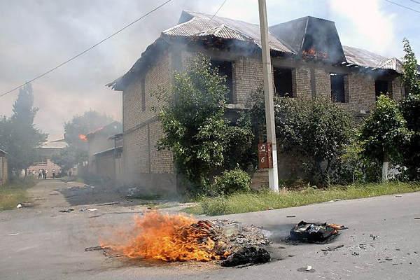 Burned houses in Osh