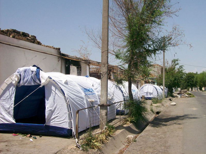 The tents in the Teshik-Tash along Lenin Street, provided by UN office of High Commissioner for refugees