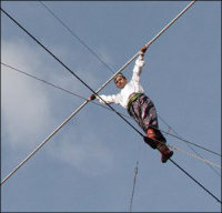 High up on a tightrope… and only sky is above