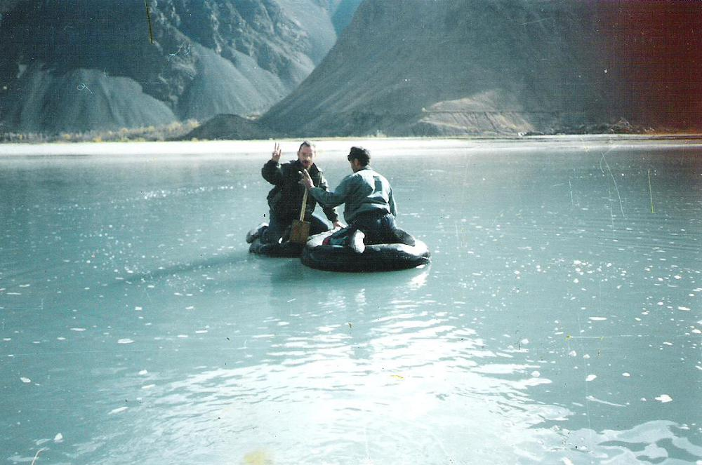 Journalist Igor Rotar is crossing the river of Amudarya illegally, from Tajikistan to Afghanistan. 1990-ies