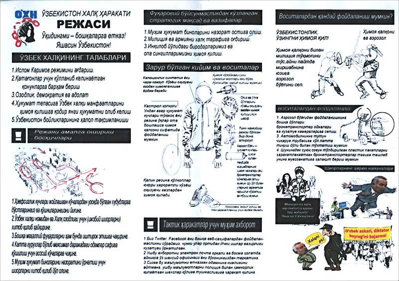 Aide-mémoire pour les participants des actions de manifestations, avec instructions sur comment se comporter dans le cas de l'usage de la force par les autorités de l'Ouzbékistan