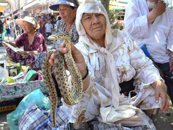 Змеи на узбекском базаре