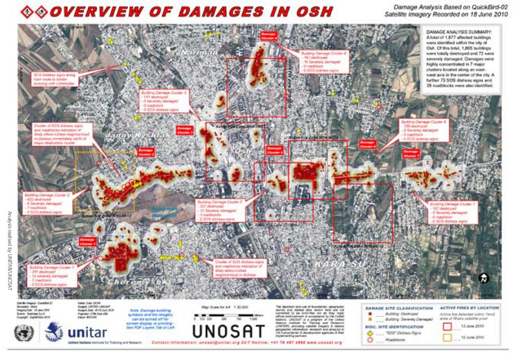 Overview of damages in Osh, by Unosat